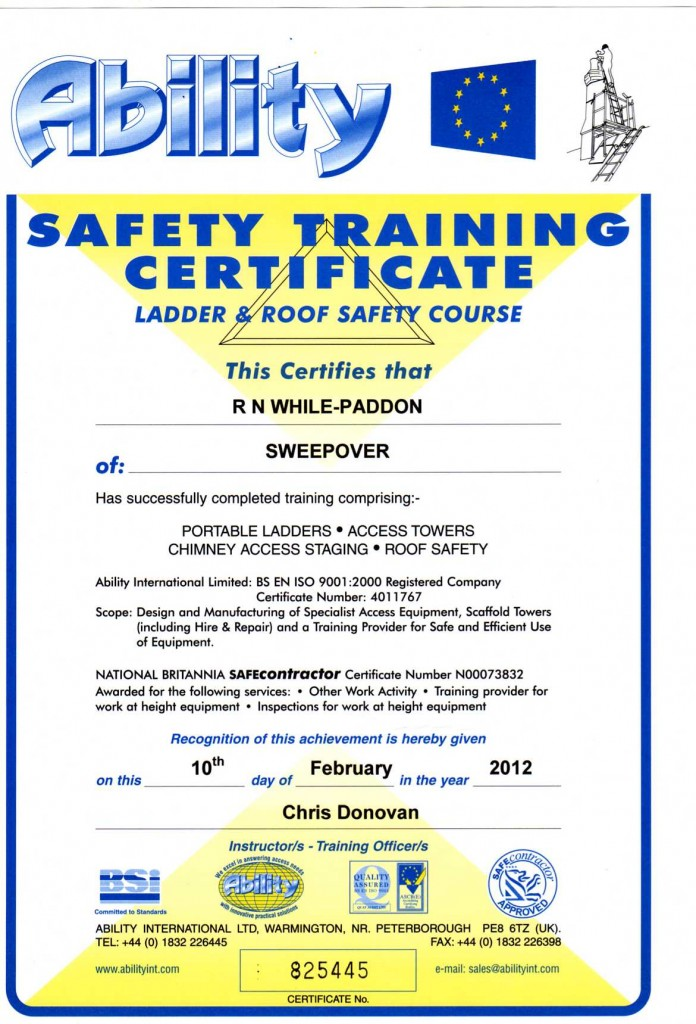 Ladder and Roof Safety Cert004